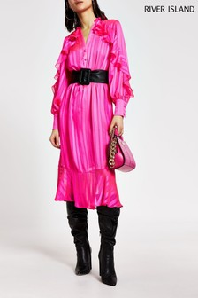 River Island Pink Ruffle Midi Dress