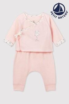 Petit Bateau Pink Bunny 3 Piece Babygrow Set