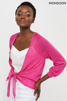 Monsoon Pink Libby Linen Blend Tie Shrug