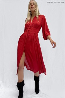 French Connection Red Cora Pleated Dress