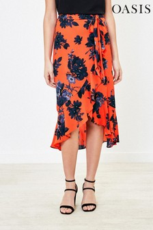 Oasis Orange Shadow Floral Midi Skirt