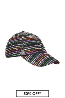 Girls Multicoloured Striped Sequin Cap