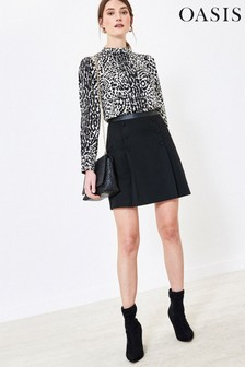 Oasis Black Button Detail Mini Skirt