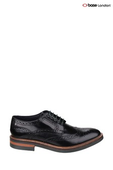 Base London® Black Woburn Hi-Shine Brogue Shoes