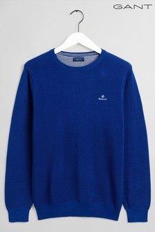 GANT Blue Cotton Pique Crew Neck Jumper