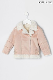 River Island Pink Light Suedette Aviator Jacket With Faux Fur