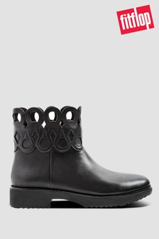 Fitflop™ Black Frieda Entwined Loops Leather Ankle Boots