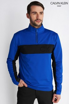 Calvin Klein Golf Blue Embossed Half Zip Jumper