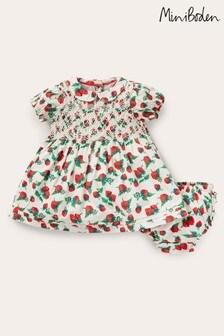 Boden Ivory Nostalgic Smocked Woven Dress