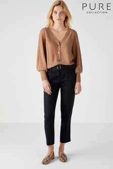 Pure Collection Black Laundered Linen Belted Trousers