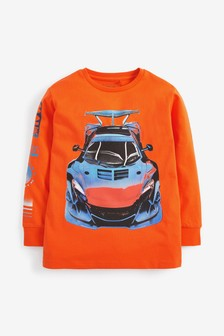 Long Sleeve Car Graphic T-Shirt (3-14yrs)