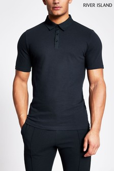 River Island Navy Nylon Collar Polo Shirt