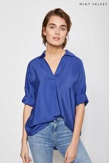 Mint Velvet Blue Throw-On Shirt