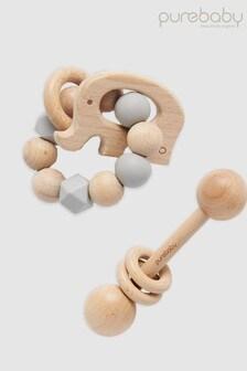 Purebaby Elephant Teething Ring And Rattle Set