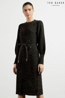 Ted Baker Black Faustaa Tie Waist Knit Midi Dress