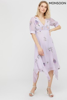 Monsoon Grey Bellrose Sustainable Embroidered Dress