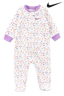 Nike Baby White Spot Print Fleece Sleepsuit