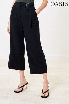 Oasis Black Buckle Crop Wide Trousers