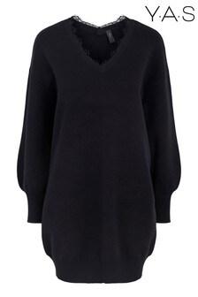 Y.A.S Black Lace Detail Bridie Jumper Dress