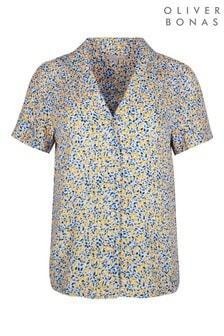 Oliver Bonas Blue Lemon Print Short Sleeved Shirt