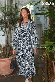 Ro&Zo Animal Zebra Shirt Midi Dress