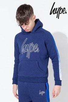 Hype. Blue Drip Panel Sleeve Hoody