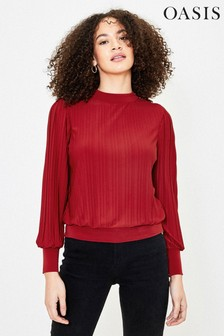 Oasis Red Pleated Long Sleeve Top