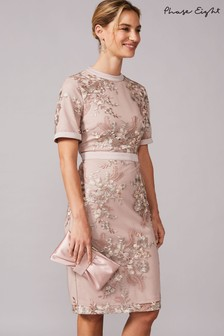 Phase Eight Neutral Evena Embroidered Dress