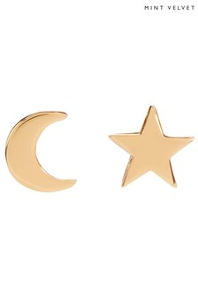 Mint Velvet Gold Tone Star & Moon Earrings