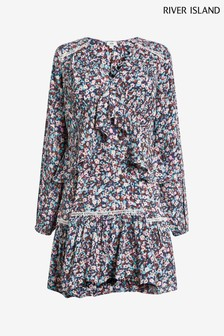 River Island Pink Bright Floral Print Smock Dress