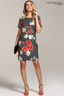 HotSquash Black Rivera Short Sleeved Print Shift Dress