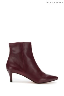 Mint Velvet Jodie Burgundy Leather Boots