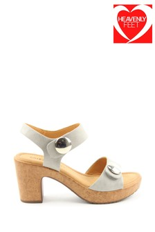 Heavenly Feet Sadie Grey Heeled Sandals