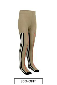 Girls Beige Icon Stripe Cotton Tights
