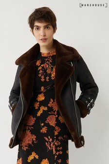 Warehouse Brown Oversized Aviator Jacket