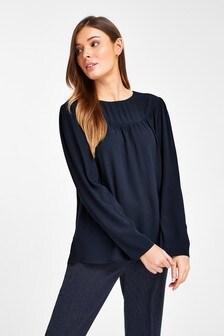 Long Sleeve Yoke Detail T-Shirt
