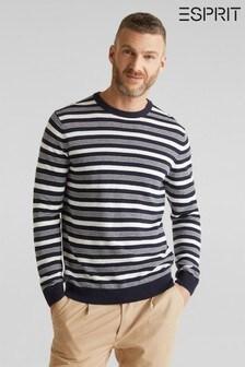 Esprit Blue Stripe Cotton Crew Neck Sweater