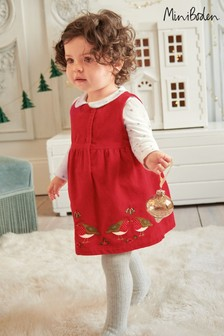 Boden Red Velvet Animal Appliqué Dress