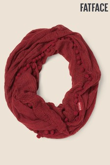 FatFace Red Plain Pom Pom Snood