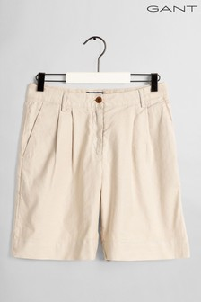 GANT Cream High Waisted Pleated City Shorts