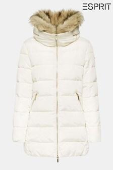 Bílá prošívaná bunda s límečkem z imitace kožešiny Esprit 3M Thinsulate