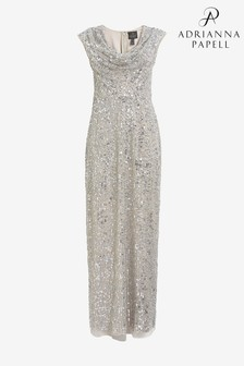 Adrianna Papell Silver Long Beaded Dress