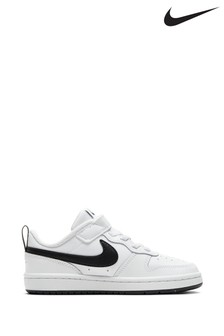 Nike White/Black Court Borough Low Junior Trainers