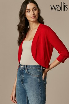 Wallis Red Curve Hem Shrug