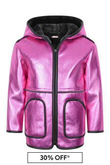 Girls Shiny Pink & Faux Shearling Coat