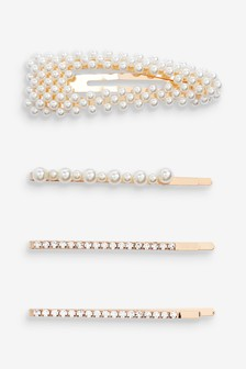 Pearl Effect Hair Clips Four Pack