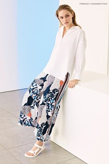 French Connection Blue Asha Drape Printed Culottes