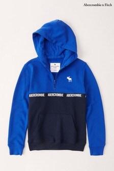Abercrombie & Fitch Blue Colourblock Half Zip Hoody