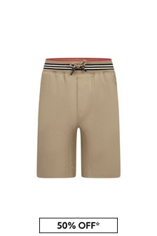 Boys Beige Cotton Shorts