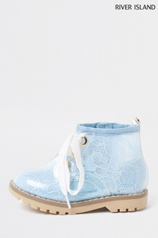 River Island Blue Lace Hiker Cleated Boots
